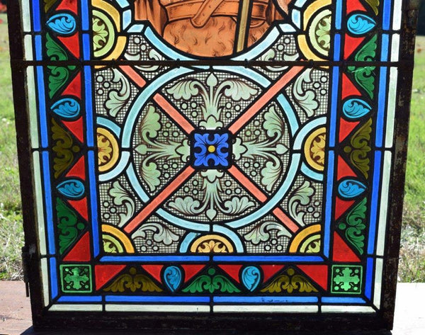 "Antique French Stained Glass Panel w/Leaded Glass ""John the Baptist"" Religious"