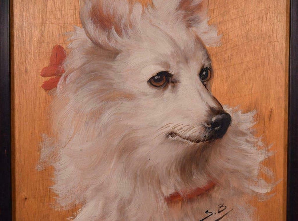 Vintage Oil on Panel Painting of a White Dog with Gilt Frame