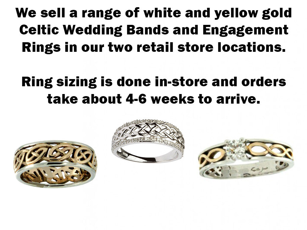 It is a graphic of Wedding Bands & Engagement Rings – The Scottish and Irish Store