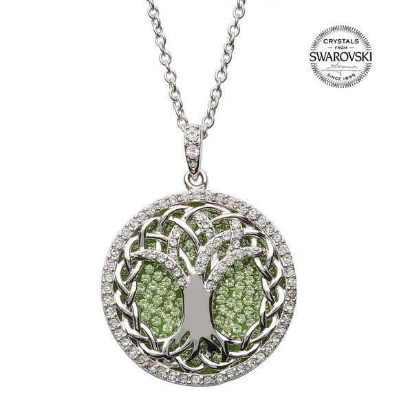 Peridot Tree of Life Swarovski Crystal Necklace