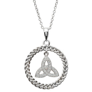 Celtic Trinity Knot Necklace Encrusted With Swarovski Crystal