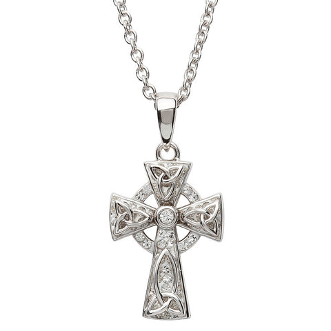 White Swarovski Celtic Cross