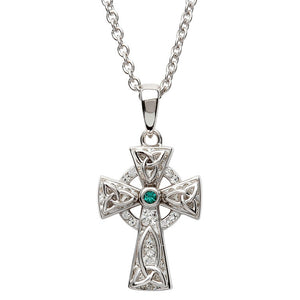 White and Emerald Swarovski Crystal Celtic Cross