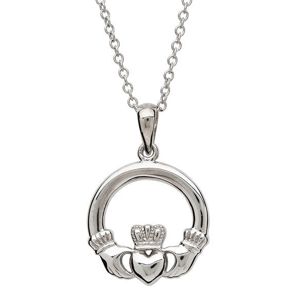 Small Silver Claddagh Necklace