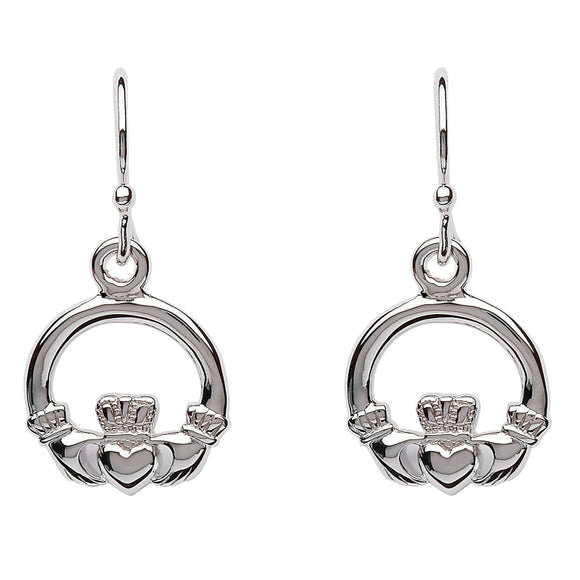Silver Claddagh Drop Earrings