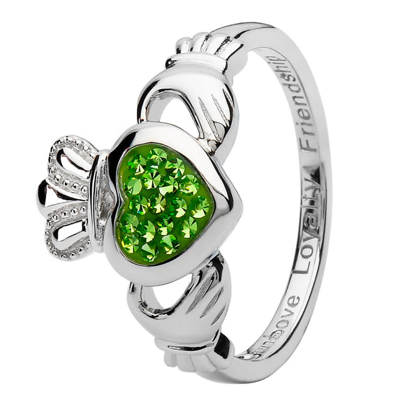 Claddagh Silver Ring Encrusted With Peridot Swarovski Crystal