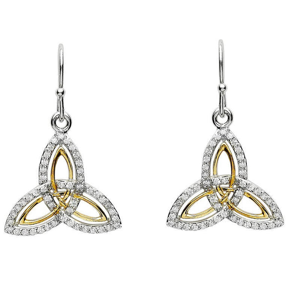 Silver Two Tone Stone Set Trinity Knot Earrings