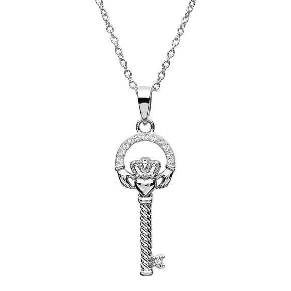Silver Claddagh Key Pendant Encrusted With Swarovski Crystals