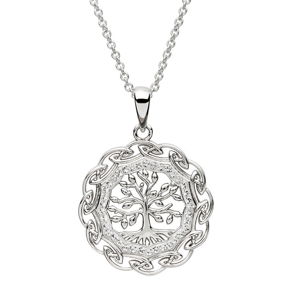 Celtic Silver Tree Of Life Pendant Embellished With Swarovski Crystals