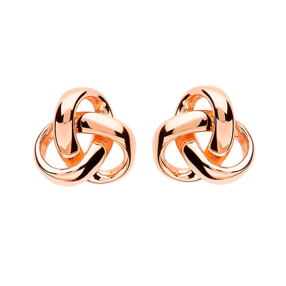 Sterling Silver Trinity Knot Rose Gold Plated Earrings