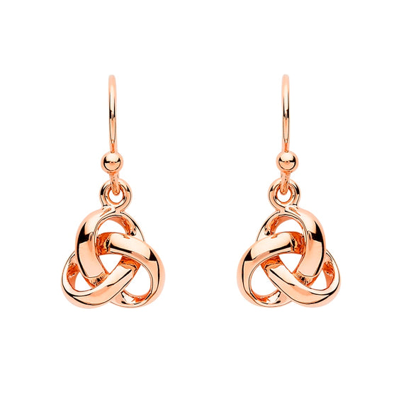 Sterling Silver Trinity Knot Rose Gold Plated Drop Earrings