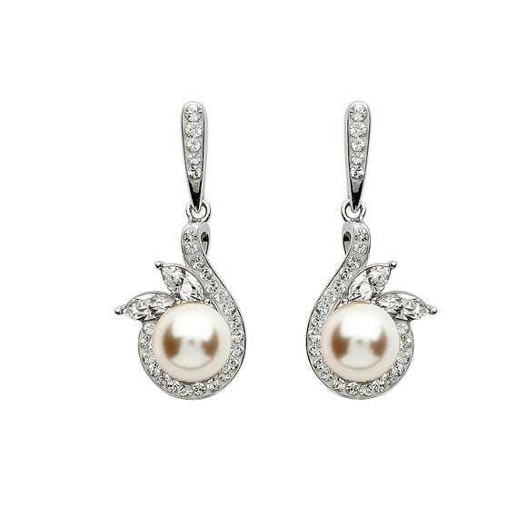 Silver Halo Twist Pearl Earrings Adorned With Swarovski Crystal