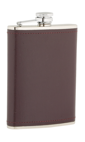 8oz Burgundy Leather Stainless Steel Flask