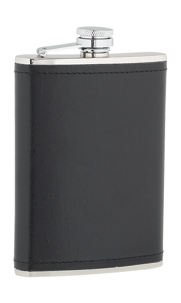 8oz Black Leather Stainless Steel Flask