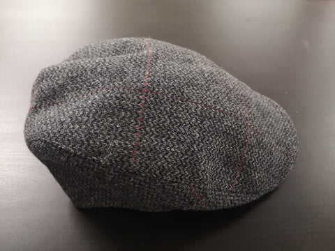 Black & Grey Red Stripe Tweed Donegal Touring Cap