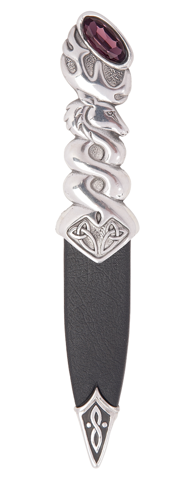 Glenfinnan Polished Pewter Sgian Dubh With Stone Top