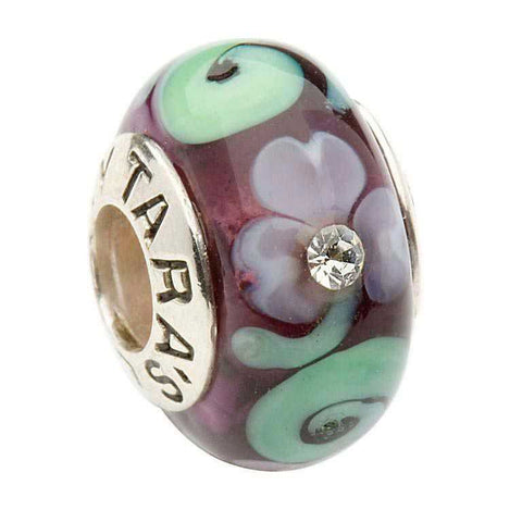 Murano Shamrock and Spiral Silver Purple Bead