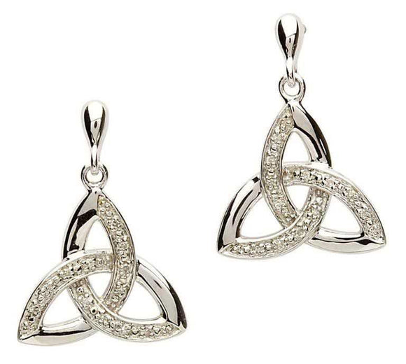 Celtic Trinity Knot Diamond Earrings