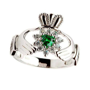 Ladies Green Stone Heart Claddagh