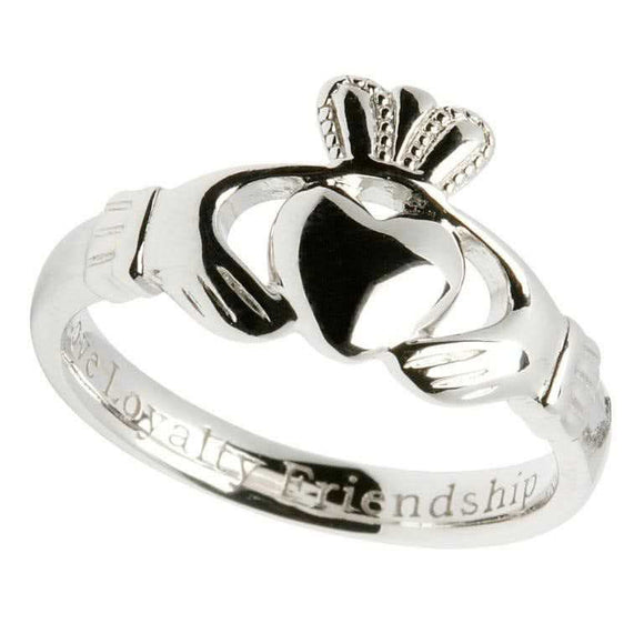 Ladies Comfort Fit Silver Claddagh