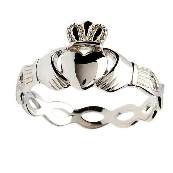 Ladies Silver Claddagh Open Twist Band