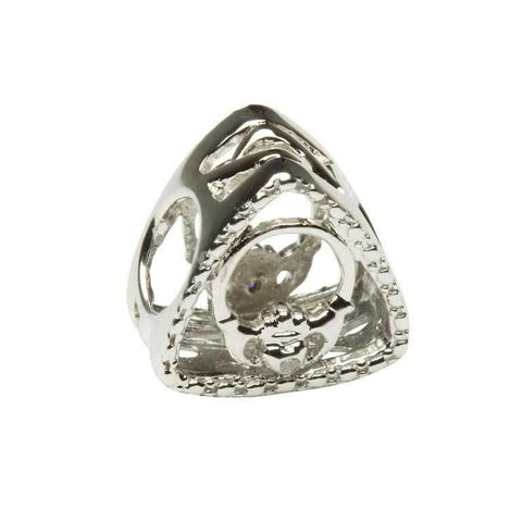 Diamond Set Claddagh Triangle Bead