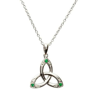 Celtic Trinity Knot Necklace Set with Emerald and Diamond