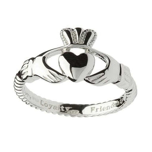 Ladies Silver Claddagh Twisted Band