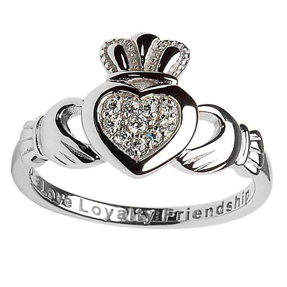 Claddagh Pave Set Ladies Ring
