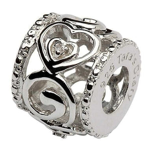 Diamond Set Heart Spiral Bead