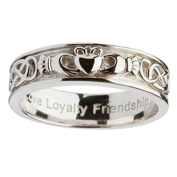 Ladies Silver Claddagh Celtic Wedding Ring