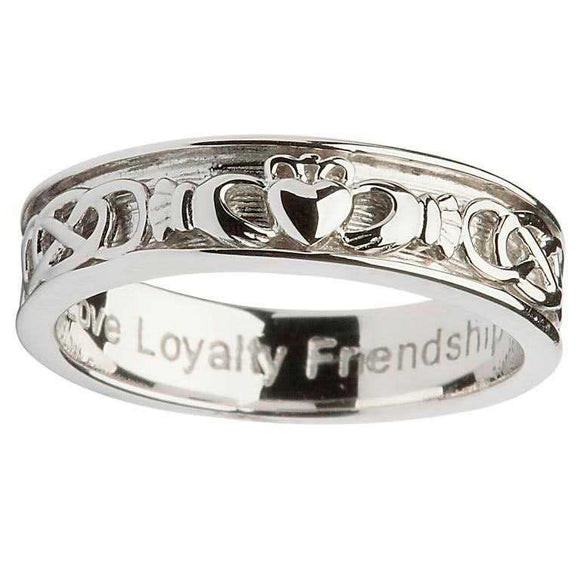 Gents Silver Claddagh Celtic Wedding Ring