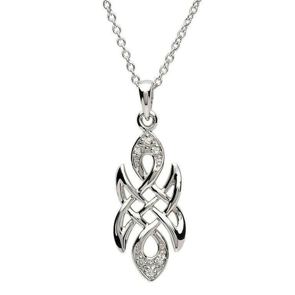 Silver Celtic knot Stone Set Necklace