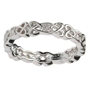 Ladies Silver Celtic Knot Stone Set Ring