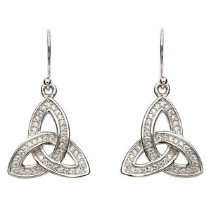 Silver Stone Set Celtic Trinity Knot Earrings