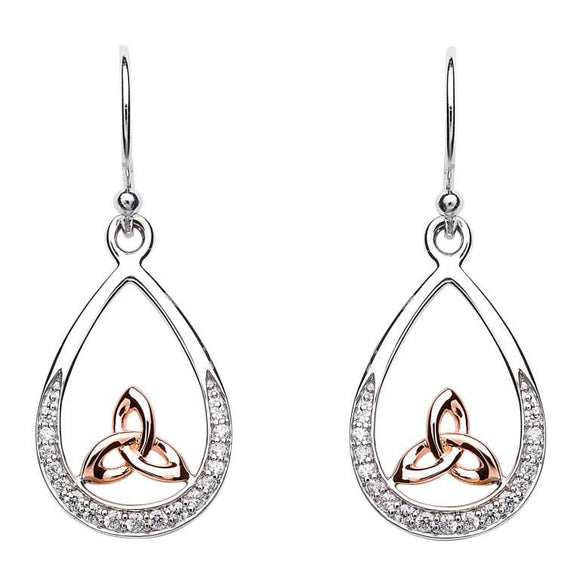 Silver Trinity Knot Stone Set Rose Gold Plated Earring