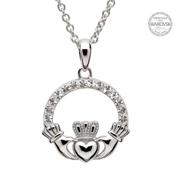 Claddagh White Crystal Pendant