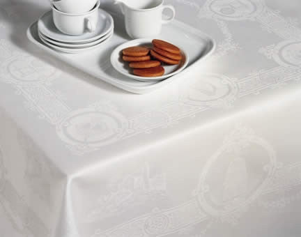Irish Linen Damask Celtic White Tablecloth