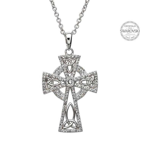 Celtic Cross White Crystal Pendant
