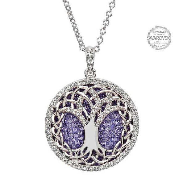 Tanzanite Tree of Life Swarovski Crystal Pendant