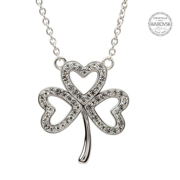 White Swarovski Crystal Shamrock Necklace