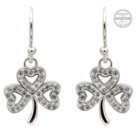 Shamrock Earrings Adorned With Swarovski Crystals