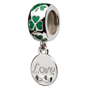Green Enamel Shamrock Love Bead