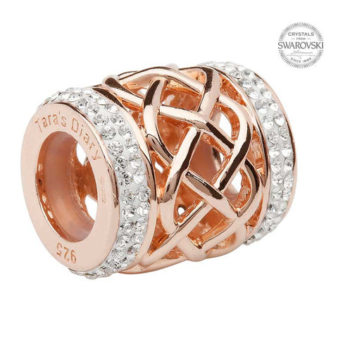 Celtic Rose Gold Plated Bead Adorned With Swarovski Crystal