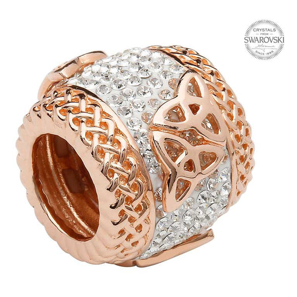 Trinity Rose Gold Plated Bead Adorned With Swarovski Crystal