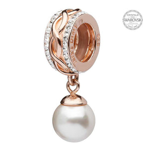 Celtic Rose Gold Plated Pearl Bead Encrusted With Swarovski