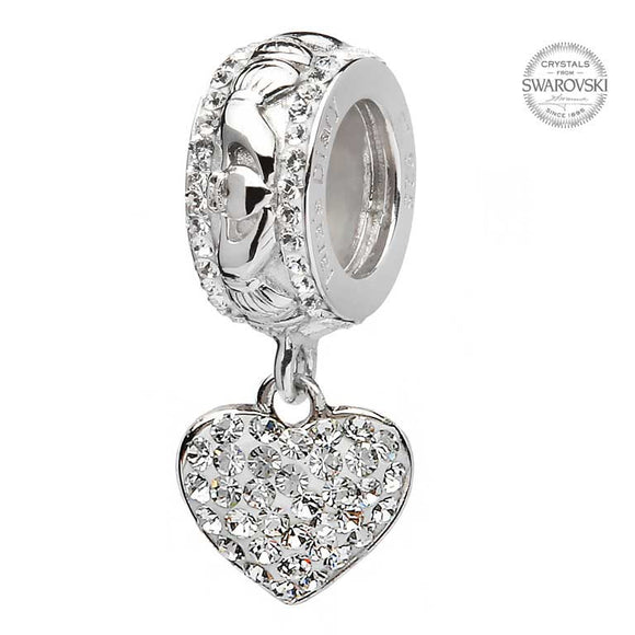 Claddagh Heart Bead Adorned With Swarovski Crystal