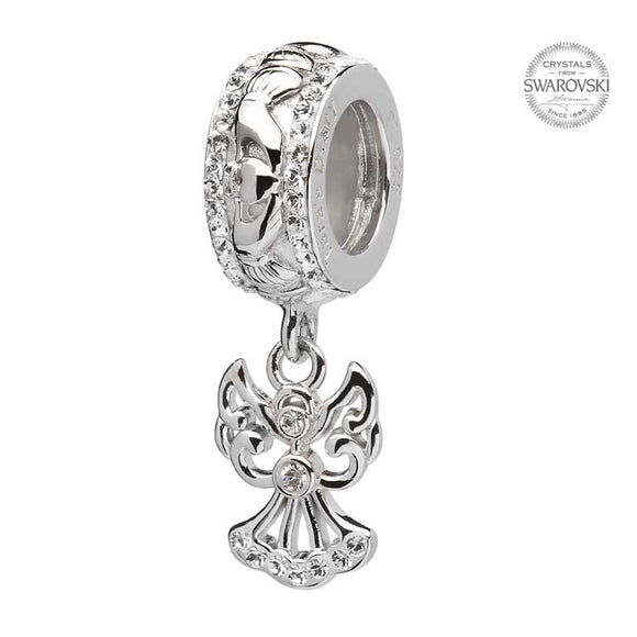 Claddagh Angel Bead Embellished With Swarovski Crystal