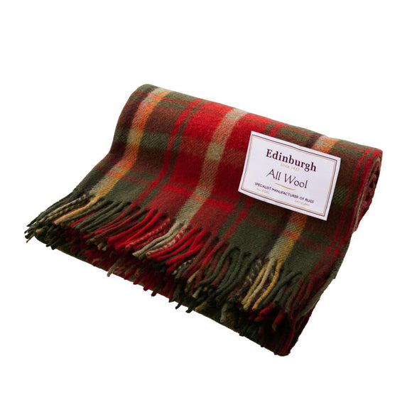 Dark Maple Tartan Wool Throw