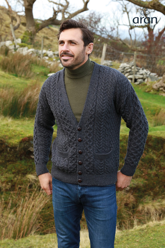Merino Wool Button Up V-Neck Aran Cardigan